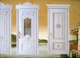 Porta de aço forjado decorativo moderno com vidro