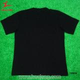 Camisetas de seda de los hombres de la impresión del color del negro del desgaste de los deportes de la juventud de Healong