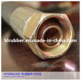 Boyau en caoutchouc hydraulique flexible à haute pression résistant de pétrole tressé de fil