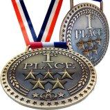 Бронзовые медали золота серебряные для 1-ых 2-ых 3-их пожалований места с вариантом яркой или античной отделки, красной белой голубой тесемки