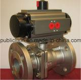 China stellte Flansch-Anschluss des Edelstahl-Ss316 pneumatisches Kugelventil her