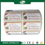 Escritura de la etiqueta cosmética impresa rodillo de encargo de la etiqueta engomada con insignia