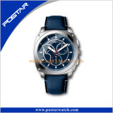 Montre-bracelet bleue de minuit de mouvement de quartz du Japon d'hommes de sport de cadran de couleur