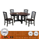 4개의 식사 의자를 가진 식당 테이블 나무로 되는 세트