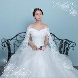 Elegante vestido de noiva de cetim de renda com xale (Dream-100045)