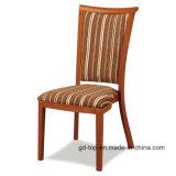 Стильный внешний вид древесины за круглым столом задний металлический обеденный стул
