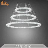 Três Crystal Round Rings LED Light Dining Room Chandelier