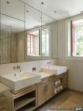 Double Sinks Woodgrain com espelhos para armário de banheiro