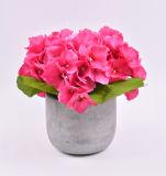 Искусственние большие цветки Hydrangea в баке цемента для украшения