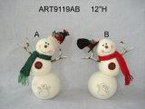 """14""""H цветочный Санта и снежную бабу Mitten Стоковая 3 Техпомощь"""