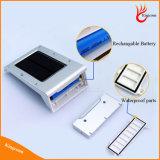 Rechangable батареи 20 СИД PIR датчик движения Солнечный свет Открытый безопасности Свет стены СИД напольный свет