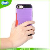 耐震性PC+TPUは背部ケースiPhone 7のハイブリッドKickstandの携帯電話の箱のiPhone7のための層の、二倍になる
