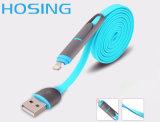 Быстрый кабель скорости 2in1 плоский для Micro и Lighning