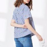 Голубая и белая рубашка женщин V-Шеи вышивки нашивки