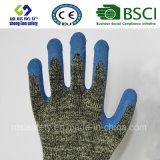 Aramid/doublure en acier avec les gants secs de sûreté d'enduit de latex d'adhérence