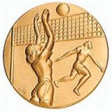 金属の金のバレーボールメダルを押す3D