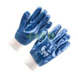 2017 новых прибыл голубой нитриловые 3/4 СИЗ для тяжелого режима работы с покрытием защитные перчатки