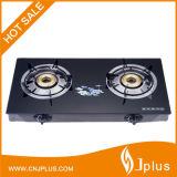 Fornello di gas d'ottone economizzatore d'energia superiore della protezione di vetro Tempered dei 2 bruciatori (JP-GCG213)