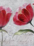 Gran pintura al óleo hecha a mano para la sala de estar con estilo de la flor del color rojo