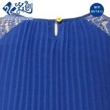 Alineada de partido floja plisada cordón azul de las señoras de la Corto-Funda del Redondo-Collar