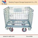 産業倉庫ラックのための折りたたみ鋼線の網の容器