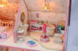 Casa de madera de Dol del nuevo color de rosa al por mayor del diseño