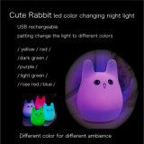 USB 충전기를 가진 토끼 LED 실리콘 밤 빛을 바꾸는 Mlti 색깔