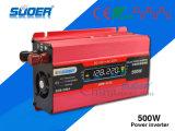 Inversor do inversor 500W DC12V do indicador do LCD do preço de fábrica de Suoer (SDB-500A)