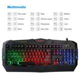 Juego mecánico impermeable del teclado de la oficina de la sensación del contraluz del RGB del arco iris (KB-1902EL)