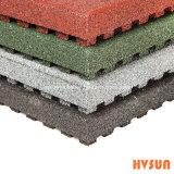 Alta qualità che collega le mattonelle di pavimentazione di gomma antisdrucciolevoli per la pavimentazione di gomma del campo da giuoco esterno di sicurezza