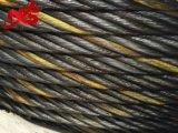 1개의 노란 물가를 가진 Ungalvanized 철강선 밧줄 6X37