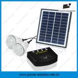 Sistema Solar recarregável com 2 lâmpadas&carregador de telemóvel&4W Painel Solar&2W Lâmpada Solar para Piscina