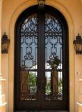 Portello di lusso di Entance del ferro di migliore qualità anteriore su ordinazione con vetro