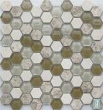 六角形のタイルのための水晶大理石の石造りのモザイク
