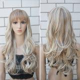 100%년 K K 섬유 머리 금발 색깔 정면 레이스 가발