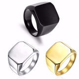 anillo de acero Titanium de los hombres del oro del negro de la plata del dedo del hombre 24K
