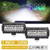 Mini barra de luz LED de 7pulgadas 120W 4X4 off road de la barra de luz LED de 24 voltios