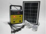 FM/Am無線USBの可動装置の充電器が付いている4PCS 3W LEDライトが付いている新しいホーム太陽照明装置