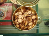 塩水の缶詰にされた全椎茸きのこ