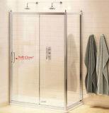Glattes Aluminiumprofil-traditionelles Weiche-nahe schiebende Dusche-Tür mit Seitenkonsole