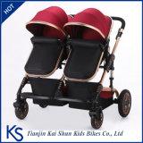 Beweglicher Doppelbaby-Spaziergänger mit faltbarem Aluminiumrahmen