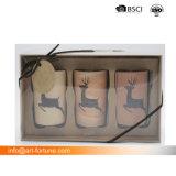 Set die 3 Glas-Kerze-des Geschenks stellte mit in Farben-Kasten für Dekor ein