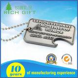 Glänzende Nickel-Hundeplakette mit Kugel-Kette und Drucken-Firmenzeichen