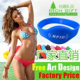 Bracelete por atacado de RFID, forma do Wristband do silicone RFID da amostra livre