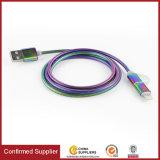 Arco-íris de boa qualidade Cabo de telefone USB Carregador Rápido totalmente em metal e o cabo de carregamento USB para sincronização de dados