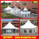 ガラスパネルの壁が付いているアルミ合金フレームの六角形の塔のテント
