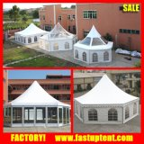 Châssis en alliage aluminium pagode hexagonale tente avec mur de façade de verre