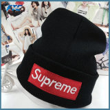Moda OEM Chapéus 100% Beanie Malha com logotipo Bordado Personalizado