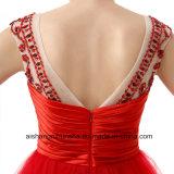 A - Zeile kurze Tulle-Schaufel-Schutzkappen-Hülsen-Backless Reißverschluss-Abschlussball-Kleid