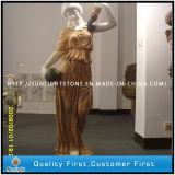 Wit/Beige/Gouden Marmeren Standbeeld/Beeldhouwwerk, de Gravure van de Steen
